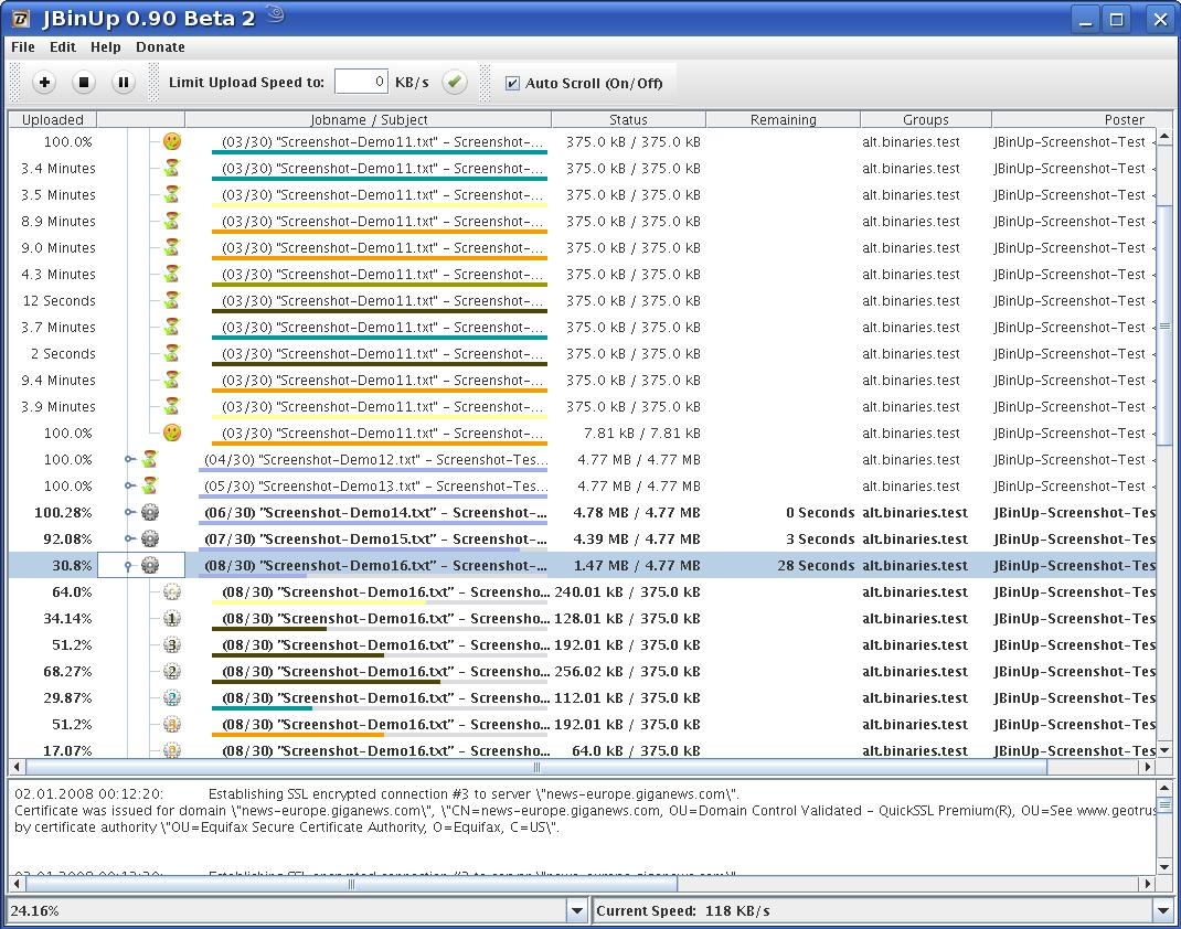 JBinUP - Usenet Upload Tool mit SSL!