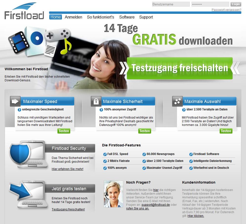 firstload design Usenet Anbieter