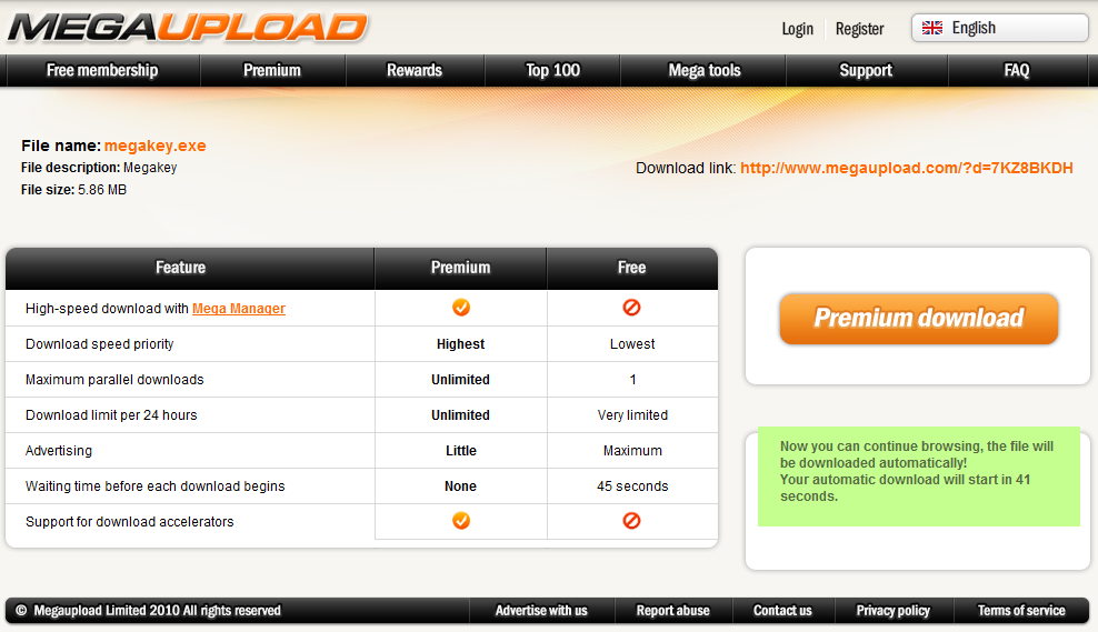 Screenshot der Homepage von megaupload.com